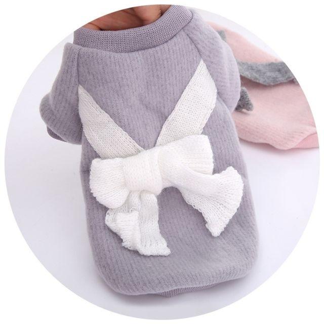 Wewoo Automne et hiver chandail noeud tricoté Bottoming Shirt deux vêtements pour animaux de compagnietaille L Gris