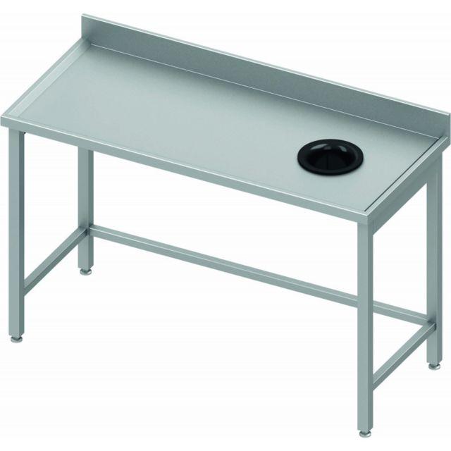 Materiel Chr Pro Table Adossée Inox - Vide Ordure à Droite- Profondeur 800 - Stalgast - inox 800x800 800