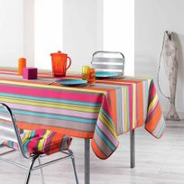Cdaffaires Nappe Rectangle 150 X 240 Cm Polyester Imprime Marina Multico