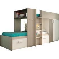 Comforium - Lit superposé enfant ultra moderne 90x200 coloris bois, gris et blanc