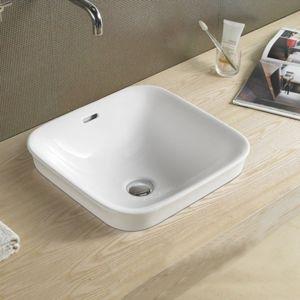 Rue du bain vasque semi encastrable carr e c ramique for Evier encastrable 40 cm