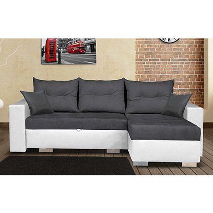 Canapé d'angle à droite convertible avec coffre - blanc et gris