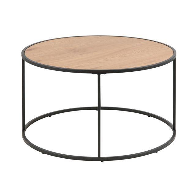 Miliboo Table basse ronde bois et métal noir D80 cm Tresca