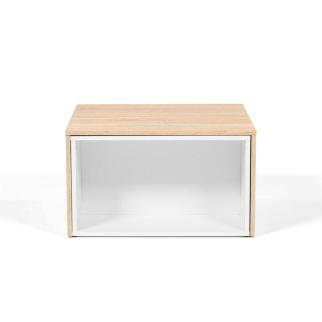 Table basse bois modulable Longueur 65cm Largeur 67cm CLEVER - Chêne/Blanc