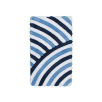 Deladeco - Tapis de salle de bain tufté bleu lavable en machine Toundra
