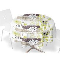 Kokoon - Soleil D'OCRE Nappe Toile cirée Zen Blanc Ø 160cm