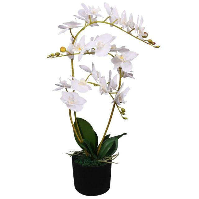 Admirable Décorations serie Roseau Plante artificielle avec pot Orchidée 65 cm Blanc