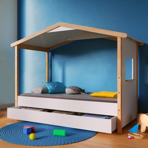 no name lit cabane castel 90x190 avec 1 tiroir blanc et vernis pas cher achat vente lit. Black Bedroom Furniture Sets. Home Design Ideas