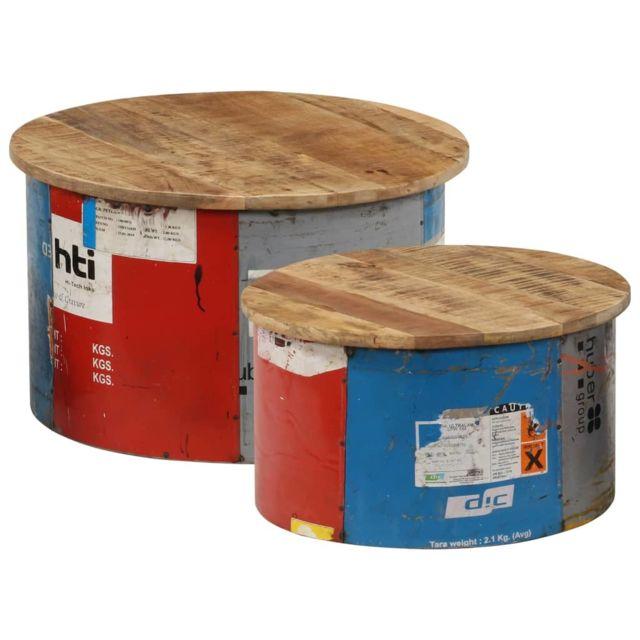 Vidaxl Bois Solide de Manguier Tables Basses 2 pcs Table d'Appoint Salon