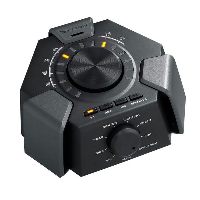 ASUS Casque ROG Strix 7.1 LeStrix 7.1est un casque gaming avec un véritableson surround 7.1délivré par10 puissants transducteurs en néodymedistincts, de larges oreillettes rembourrées (130 mm au point le plus large) et des effets lumineux statiques