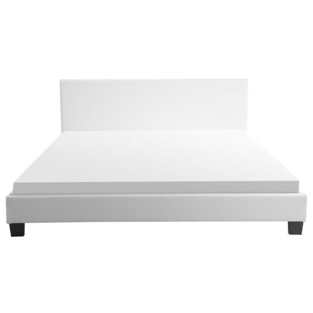 Structure De Lit Monaco Lit adulte classique avec Led - Simili blanc -  Sommier et tete de lit inclus - l 140 x L 190 cm