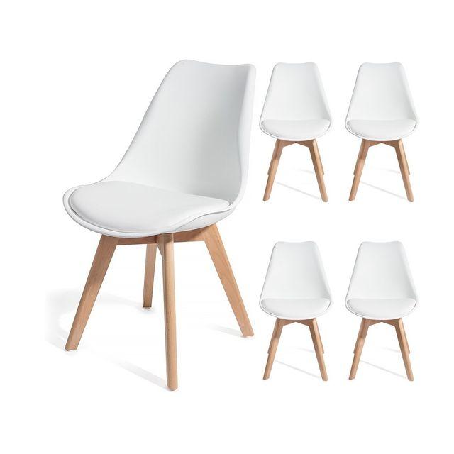 Homekraft 4 chaises Brekka design style scandinave Top qualité Blanc