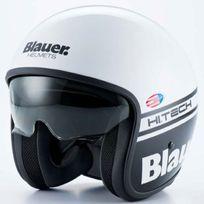 Blauer - casque jet moto scooter Pilot fibre blanc noir brillant S