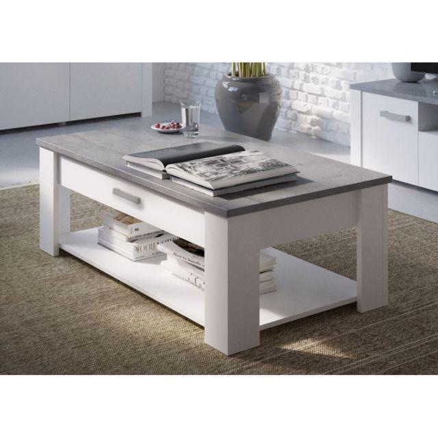 Generic Table basse 120x64 cm Tennesse Blanc /gris béton Woodcorn