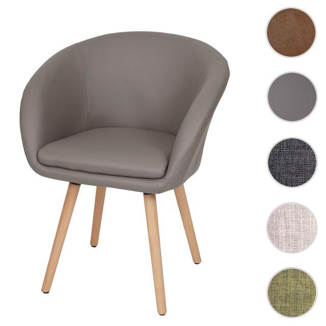 Mendler Chaise de salle à manger Malmö T633, fauteuil, design rétro des années 50 ~ similicuir, taupe