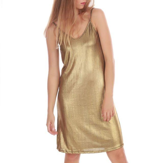 42e1f17d6dde0 La Modeuse - Robe slip dress dorée scintillante - pas cher Achat ...