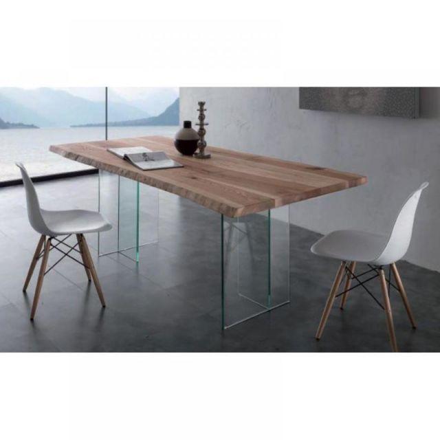 Inside 75 Table repas Bio Glass plateau en frêne massif piétement en verre