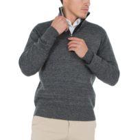 bruce field pull homme col zipp contrast en laine et cachemire