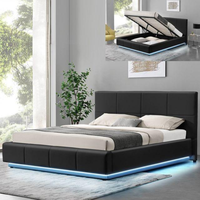 MEUBLER DESIGN Lit design Alexi avec sommier et coffre de rangement - Noir - 160x200