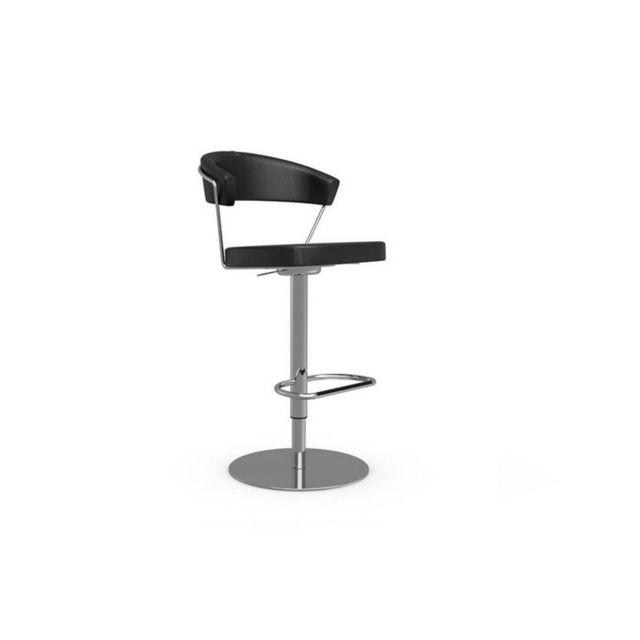 Inside 75 Chaise de bar New York design en tissu enduit polyuréthane simili façon cuir noir