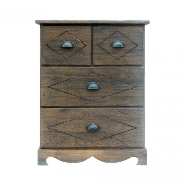 Mobili Rebecca Table de Chevet Commode 4 Tiroirs Bois Marron Country Retro Chambre Salon