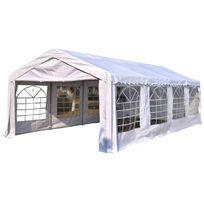 OUTSUNNY - Tente barnum tonnelle de réception 8 x 4 x 2,8 m polyéthylène imperméable 8 fenêtres et acier galvanisé robuste blanc neuf 14