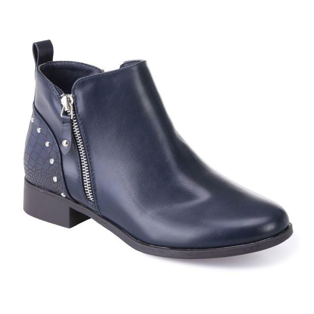 Lamodeuse - Bottines bleues avec zip fantaisie et talon croco - pas cher  Achat   Vente Bottes femme - RueDuCommerce bff41d084bb9
