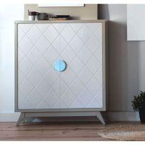 Cubisl - Meuble Rangement - Laqué Vison brillant, Portes laquées blanc - 96x29x112 - L unité