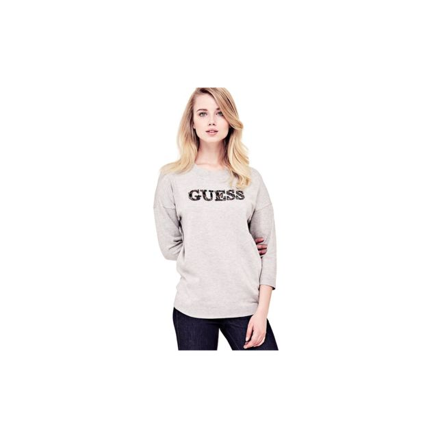 Guess - Guess Pull Femme Cloe Logo Applications Gris W81R36 - Taille - Xs 7c768fbcd16