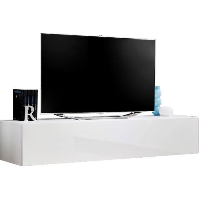 comforium banc tv mural 180 cm en panneaux de particules coloris blanc pas cher achat. Black Bedroom Furniture Sets. Home Design Ideas