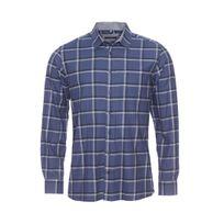 Jean Chatel - Chemise droite en jersey de coton bleu marine à carreaux gris et noirs