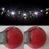 Feerie Lights - Guirlande lumineuse perles rouge et or et bougies boules rouges