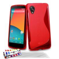 """Muzzano - Coque Souple Ultra-Slim """"Le S"""" Premium Rouge pour Google Nexus 5 + 3 Films de protection ?cran"""