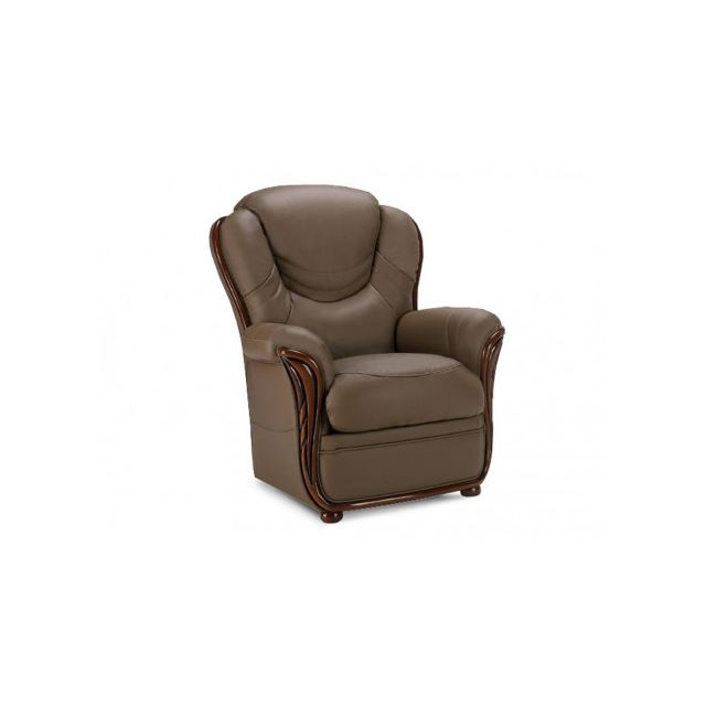 Fauteuil 100% cuir de buffle ADELAIDE - taupe