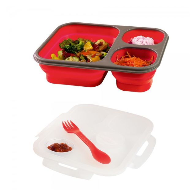 kitchen artist lunch box bento 3 compartiments r tractables couvercle silicone rouge. Black Bedroom Furniture Sets. Home Design Ideas