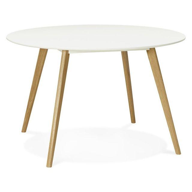 Alterego Table de cuisine ronde 'AMY' blanche style scandinave - Ã? 120 cm
