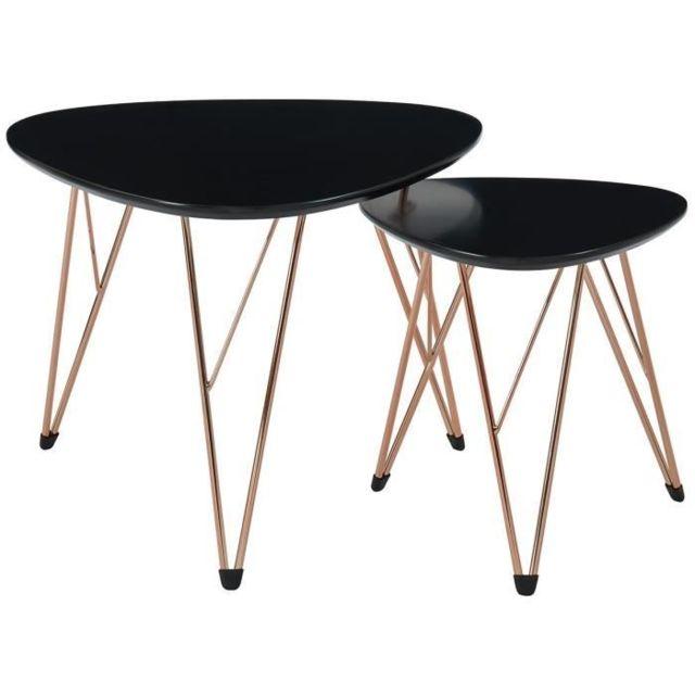 le dernier 1f392 9fa84 Table Gigogne Sixties 2 tables basses gigognes vintage - Mdf noir laqué mat  avec pieds métal cuivre laqué - L 60 x l 60 cm et L 40 x l 40 cm