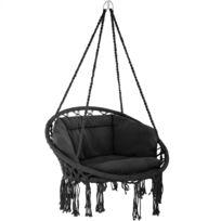 Decoris Chaise hamac à suspendre en coton noir et blanc