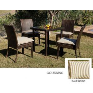 d co maison petite table de jardin carr 2 chaises r sine tress e coussin ray beige marzia. Black Bedroom Furniture Sets. Home Design Ideas