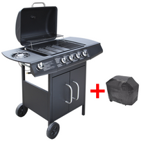 Vidaxl - Barbecue grill à gaz 4 + 1 brûleurs Noir