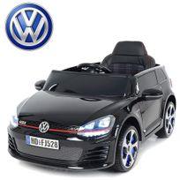 Voiture électrique enfant Golf Gti 12V roues Led Noir peinte carte Sd incluse siège cuir
