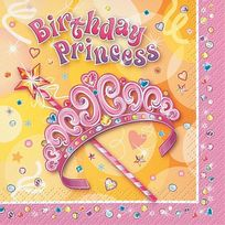 Unique - Serviettes anniversaire princesse x16