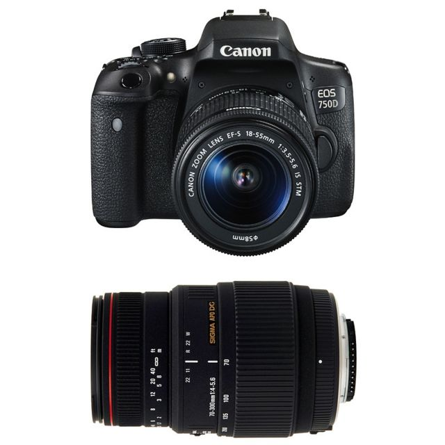 Canon Eos 750D + Ef-s 18-55 mm f/3.5-5.6 Is Stm + Sigma 70-300 F4-5.6 Dg Apo Macro Garanti 3 ans