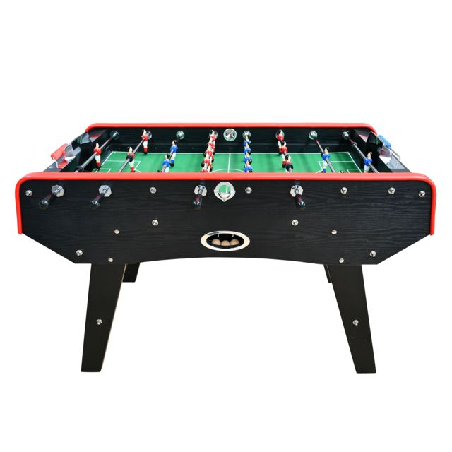 Play4FUN Babyfoot Classic type Bistrot - 151 x 77 x 91 cm - Table de Baby-foot avec barres téléscopiques, Couleur Bois Noir et Ba