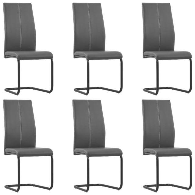 Joli Fauteuils et chaises ligne Tokyo Chaises de salle à manger 6 pcs Gris Similicuir