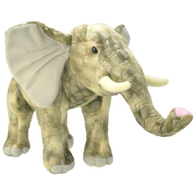 Wild Republic Peluche Elephant Gris Debout 40 cm - Animaux D'Afrique - Wild