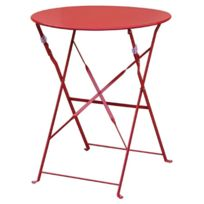Comforium - Table de terrasse moderne coloris rouge