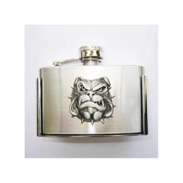 Universel Boucle de ceinture flasque a alcool tete de chien bulldog