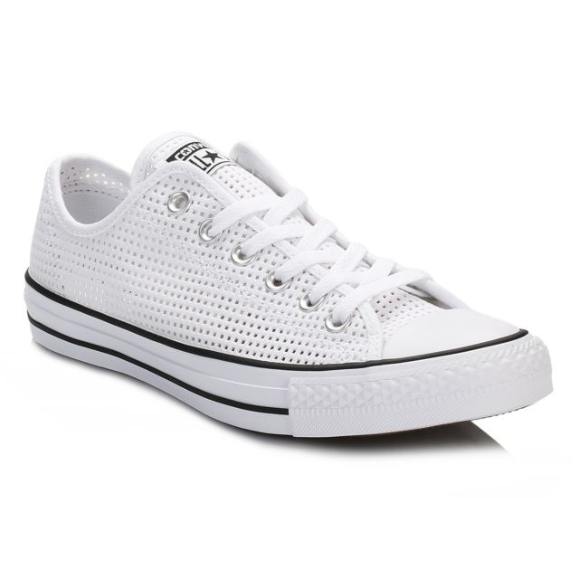 quality design 64884 02173 Converse - Womens White Chuck Taylor All Star Perforated Canvas Trainers -  pas cher Achat   Vente Baskets femme - RueDuCommerce