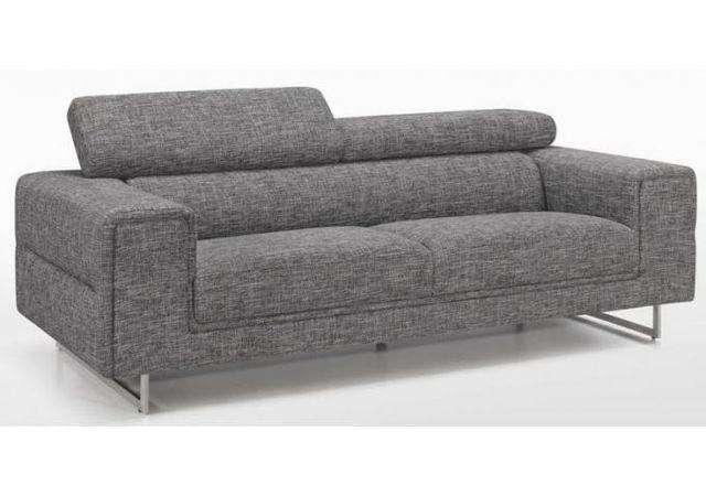 DECLIKDECO Canapé 3 places en tissu pieds acier brossé LITA
